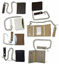 Biker's Chain wallet. Leather Trifold wallet, Motorcycle Trucker Biker wallet BN