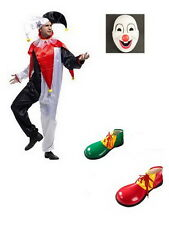 Adult CLOWN COSTUME Fancy Dress Halloween Circus Party Funny Mens Mask Shoes MFR