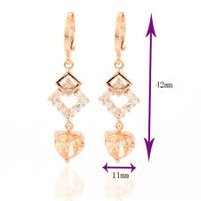 Womans Earings Rose Gold Plated Multicolor CZ Water Drop Earrings
