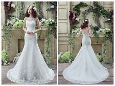 White/Ivory In Stock Empire Sheath Bridal Gowns  Applique Tulle Wedding Dresses