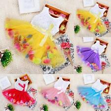 Toddler Baby Kids Girl Princess Lovely Pageant Lace Bow Flower Party Tutu Dress