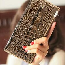 Crocodile Design Genuine Leather Women Wallet Lady Hand Bag Luxurious Purse #MFR