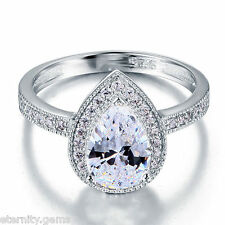 ELEGANT NSCD Simulated 2 Carat Pear Cut Diamond Ring Engagement Wedding