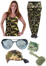 Womens Army Set Camo Fancy Dress Paintball Hunt Military Assult Course 5 Piece