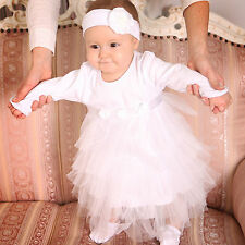 Baby Girl Christening Dress White Cotton Baptism Baby Outfit Newborn Tutu Dress