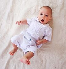 Baby Boy Romper Baptism Outfit Newborn Boy Infant Christening White Bodysuit NEW