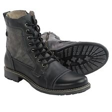Men's Steve Madden Meyham Cool Zip Cap-Toe Lace Up Boot Black