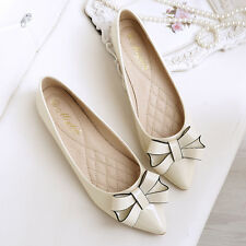 Women Fashion Patent Leather Bowknot Ballet Flats Pointy Toe Casual Shoes 4-12