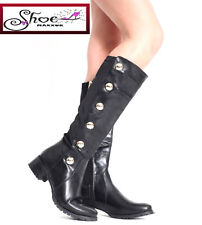 Womens Ladies Gold Detail Low Heel Knee High Stretch Panel Black Boots shoes 3-8