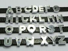 Cool Alloy Smooth Alphabet Letter A-Z Slide Beads Charm Fit 10mm Belt Wristbands