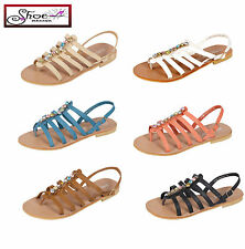 NEW WOMENS LADIES FLAT STRAPPY BUCKLE DIAMANTE FANCY SUMMER EVENING SANDAL SIZE