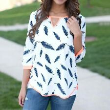Fashion Women Casual New 3/4 Sleeve Loose Summer   Feather printed T-shirt Tops