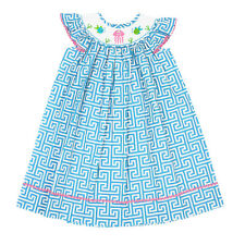 NWT Smocked Sea Animals Turquoise Greek Key Dress The Smocked Shop!