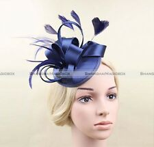 New 3 Colors Fascinator Hatinator Ribbons Feathers on clip Wedding Races BFE