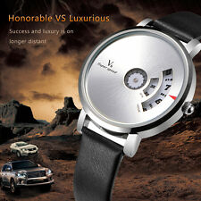 V6 Men luxury Watch Leather Wristwatches Fashion Waterprooof Sport Style Quartz