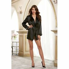 Dreamgirl Sexy Lingerie Black Satin Robe
