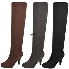 Stylish Women Over Knee Long Thigh Stretch High Heel Stiletto faux Suede Boots