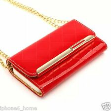 Patent Leather Red Clutch-Handbag Folio Flip Case + Chain For iPhone 6/6s PLUS