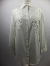BRAND NEW WOMENS EMBROIDERED/LACE BIG SHIRT IVORY SIZES 12-32 BY DENIM 24/7