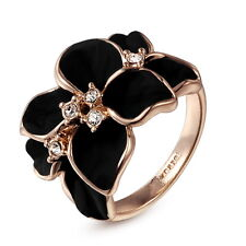 Noble Ring Black Rose Finger Ring gold plated Flower Rhinestones Gift Woman