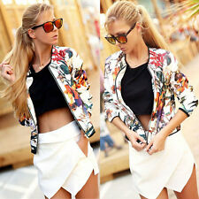 Womens Sexy  Floral Slim Long Sleeve Zipper Casual Short Blazer Coat Jacket Tops