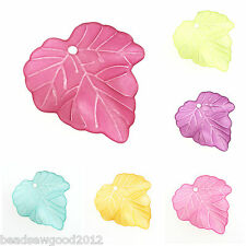 25 FROSTED LUCITE ACRYLIC LEAF BEADS 25mm Leaf Charms for Jewellery Making