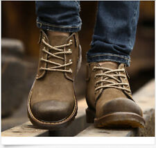 Mens Retro Lace Up Suede Leather Comfort Fur Military Cowboy Combat Winter Boots