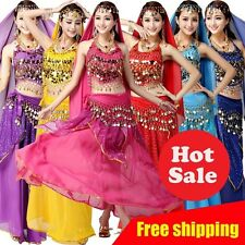 Bra+Belt+Skirt Handmade Beaded Belly Dance Costume Set Bra Top Hip scarf Skirt