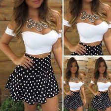 Sexy Women Lace Fashion Bodycon Dress Skirt and Crop V-Neck Tops Party Clubwear