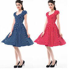 Vintage 50S Sweetheart Neck Short Sleeve Prom Swing Rockabilly Polka Dot Dresses