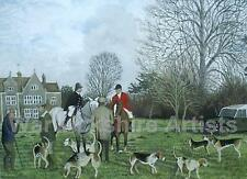 The Warwickshire at Stoneythorpe' Watercolour painting. The Hunt, Horses, Dogs