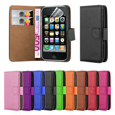 Wallet Leather Flip Book Stand Case Cover For Apple iPhone 3G 3GS + Screen Guard