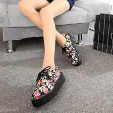 Women Round Toe Lace Up Punk Goth High Platform Flats Sport Casual Creeper Shoes