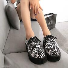Women Ladies Platform Wedge Lace Up Flat Creeper Punk Goth Rose Star Shoes Boots