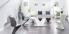 ALARAS II Black Glass and White High Gloss Modern Extendable Dining Table