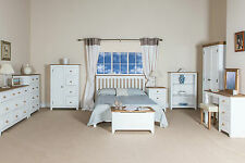 White Painted Pine Capri Bedroom Furniture Wardrobes Chest Drawers Bedsides Beds