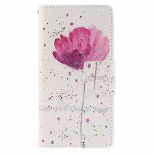 Purple Orchid Leather Flip Stand Card Slot Wallet Case Cover Skin for Phones