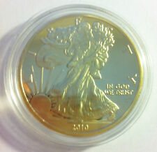 2010 USA Walking Liberty 1 troy Oz 999 24k Gold Layered Coin in Capsule