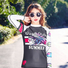 Women's Rash Guards Shirt Long Sleeve Sun Beach Shirt Uv Surf Lycra Top Swimwear