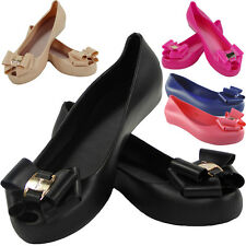 NEW WOMENS LADIES FLAT COMFY CASUAL OFFICE JELLY BOW SLIP ON GRIP SHOES SIZE