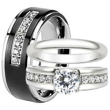 His and Hers Wedding Bands Men's Black Titanium CZ Women's Engagement Ring Set