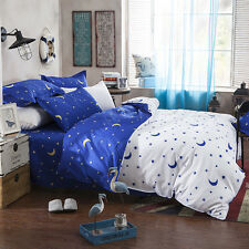 Blue Moon Stars White Bedding Set Pillowcase Quilt Duvet Cover Single Queen 3PC
