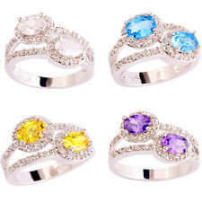 Women Amethyst Citrine White Blue Topaz Gemstone Silver Ring Size 7-10 Jewelry