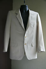 Vintage Italian Bespoke Suit Jacket Hand Tailored Virgin Wool Cream 2 Button Reg
