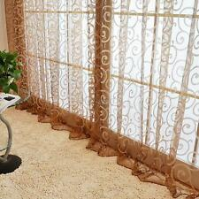 Solid Sweet Floral Tulle Voile Window Curtains Drape Sheer Scarf Valances MKLG