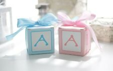 10x Baby Shower Square Blue/Pink Birthday Favour/Bomboniere Boxes