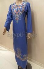 Egyptian Embroidered Galabeya Abaya Islamic Dark Blue Prayer Jilbab Kaftan