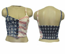Denim bralet USA cropped bra top cupped popper front elasticated back Size 6 10