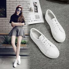 Fashion Womens Lace Up Leather Flat Casual Preppy Student School Sneakers Shoes