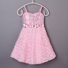 Girls Sequinned Party Dress Spaghetti Strap Rose Floral Princess Wedding Holiday